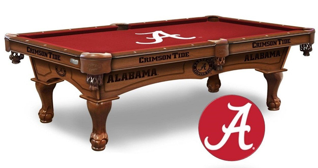 This Alabama Crimson Tide Pool Table Is Available In An 8 Ft Length Wood Cabinet Has Cnc And Laser Cut Logos Available In Two Fini Pool Table Pool Cool Pools