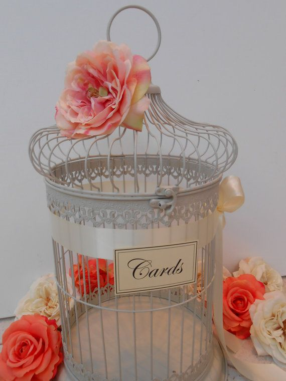 Birdcage Wedding Card Holder / Card Box / Birdcage Cardholder / Round Birdcage / Pink Blush Wedding Decor / Wedding Decoration