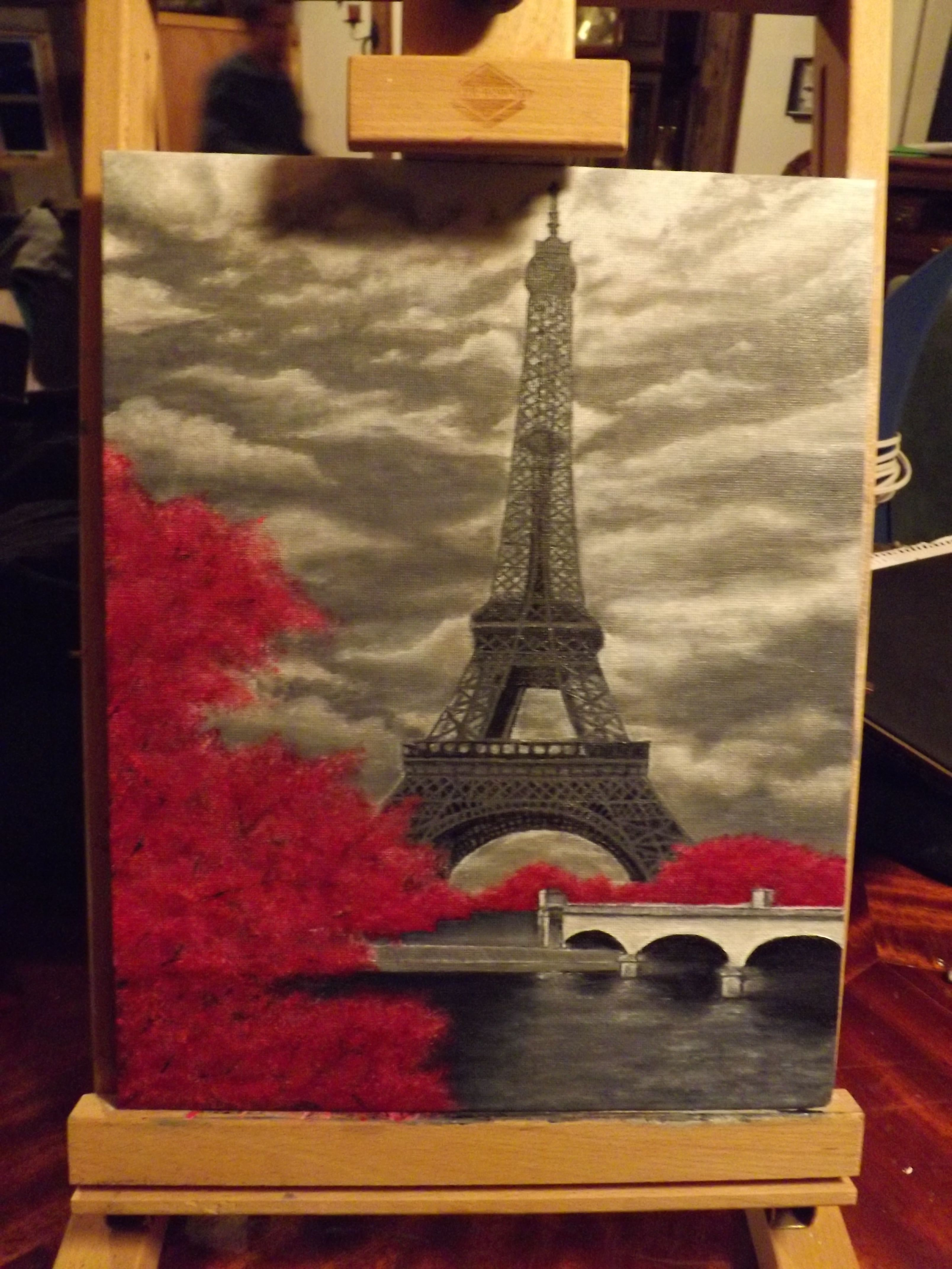 Acrylic eiffel tower painting painting pinterest for What is canvas painting