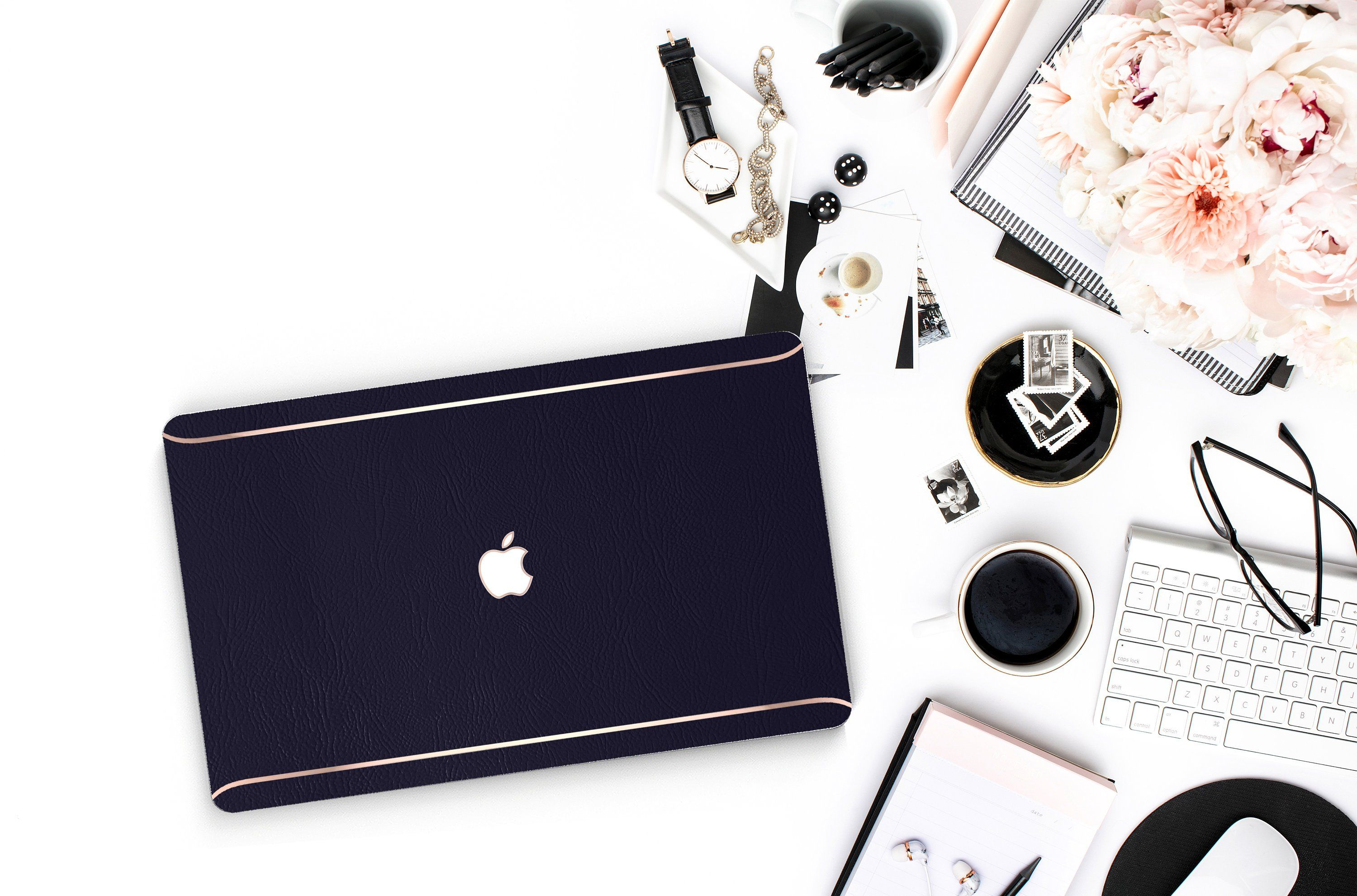 Leather Navy Blue and Thin Rose Gold Accents Macbook Hard