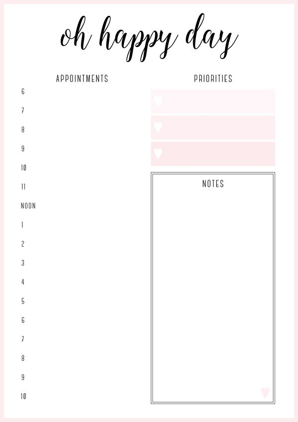 Oh Happy Day Planner from Free Printable Irma Daily Planners by