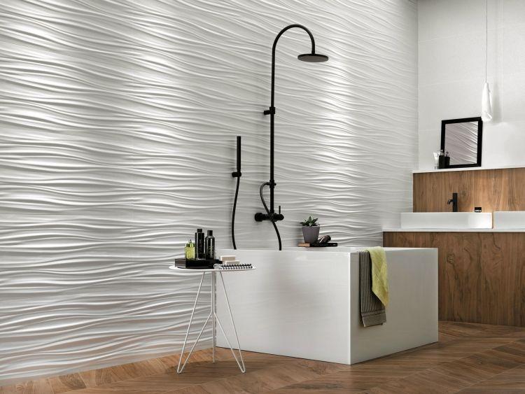 Kreative Wandgestaltung Mit 3d Keramikfliesen Von Atlas Concorde Bathroom Seastone Marvel Walltiles Wandfliesen Struktur Ew 3d Fliesen Band Wand Fliesen