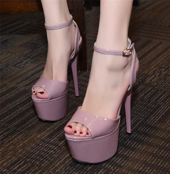 manmitu4-free shipping new vogue peep toe summer heels women platform sandals girls fashion sexy shoes zapatos mujer purple 17cm