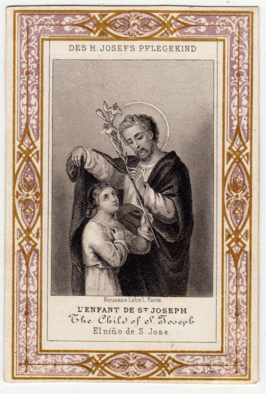 Antique holy prayer card of saint joseph circa 1900