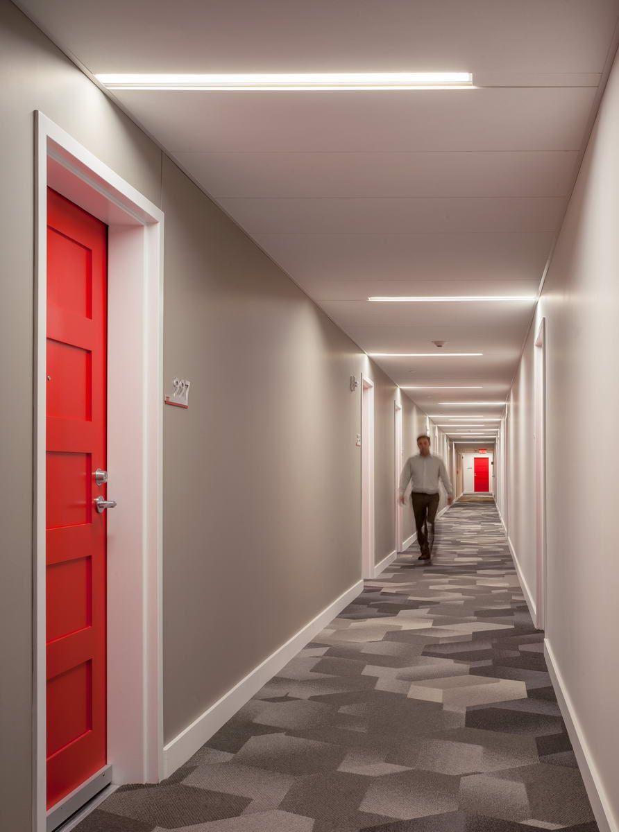 Eco interiors in allston ma corridor design lobby for Hotel corridor decor