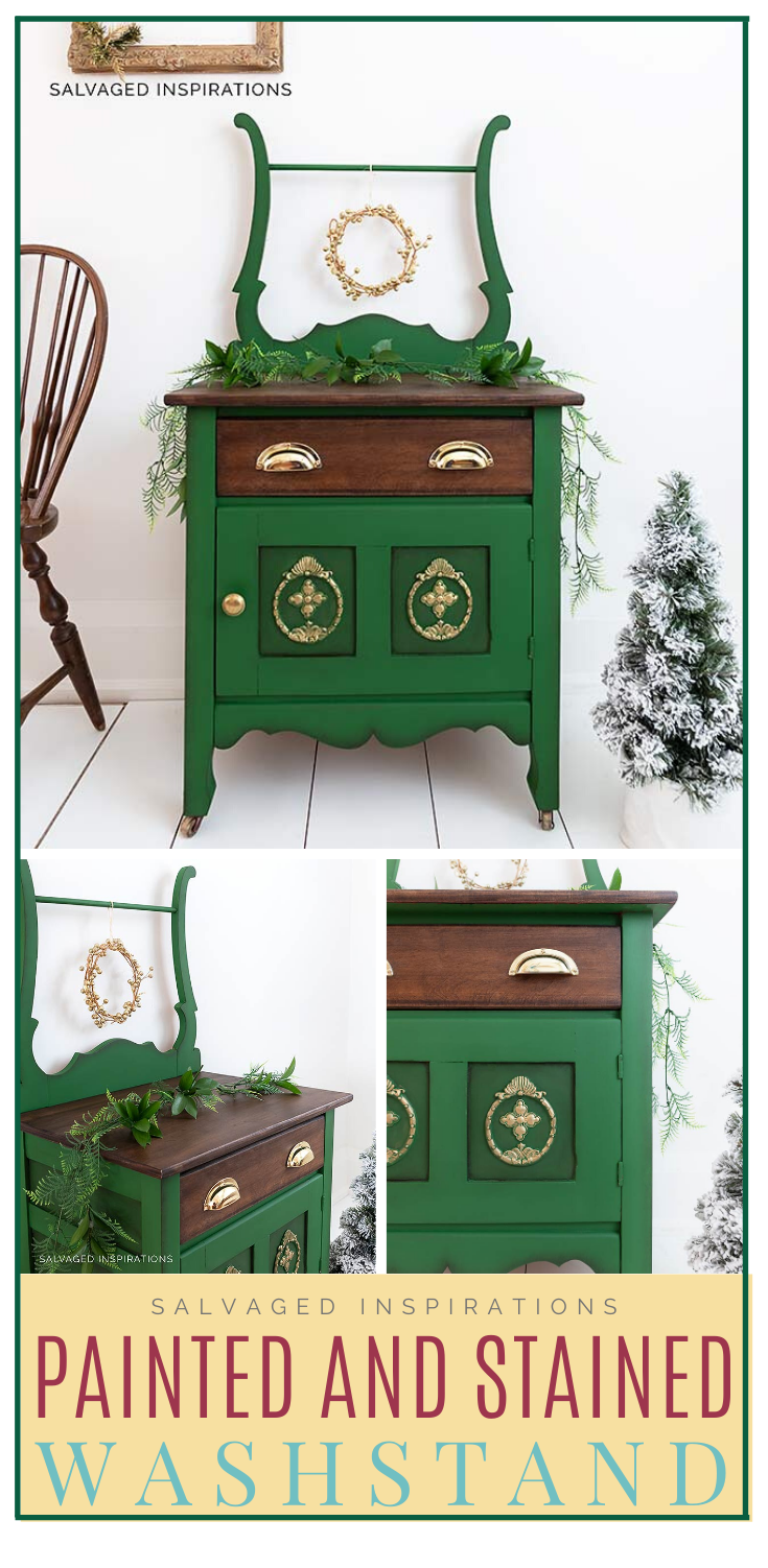 Painted & Stained Washstand |Christmassy Decoration | Salvaged Inspirations   #siblog #salvagedinspirations #paintedfurniture #furniturepainting #DIYfurniture #furniturepaintingtutorials #howto #furnitureartist #furnitureflip #salvagedfurniture #furnituremakeover #beforeandafterfurnuture #paintedfurnituredieas #paintedfurniture #painteddresserideas #christmas #decor