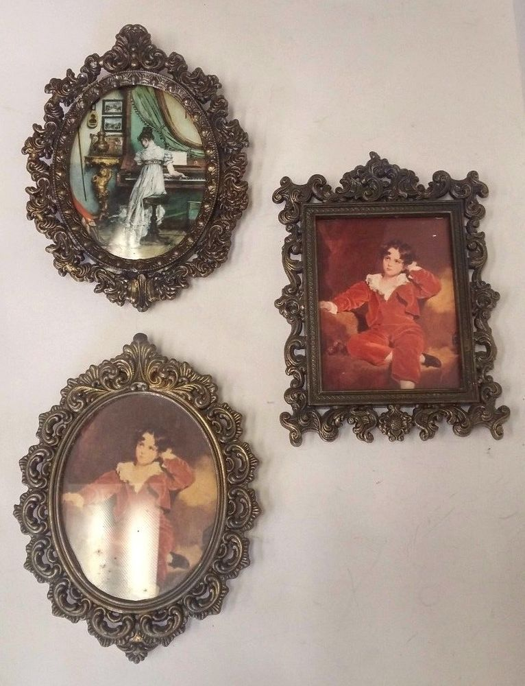 Lot 3 Italian Ornate Filigree Miniature Brass Frames W Victorian