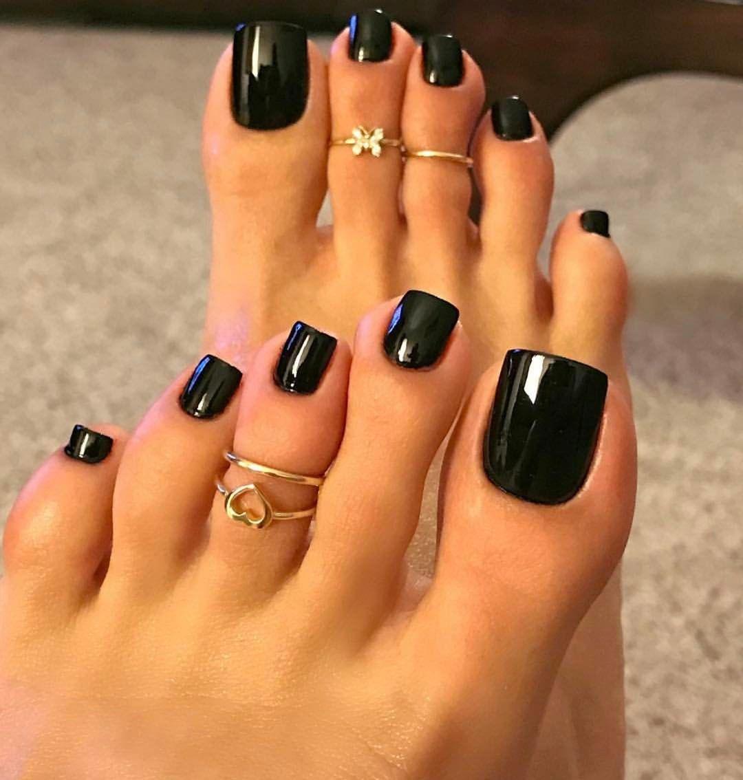 Trust In Black Nail Design Summer And Matching Toenails Long Toenails Pretty Toe Nails Acrylic Toes