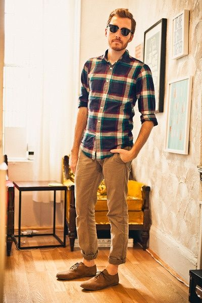 Men's Navy and White Plaid Long Sleeve Shirt, Brown Chinos ...