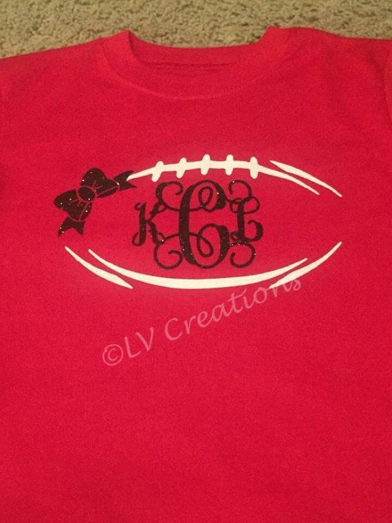 9dbbd665 Monogrammed Football Initial Bow or No Bow Team Name Shirt Personalized  Customized Glittered Three I