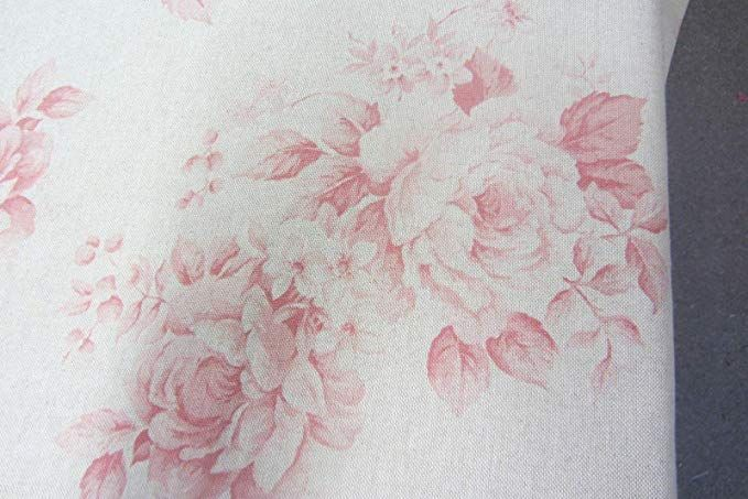 Faded Roses French Linen Red Pink 140cm Wide Curtain