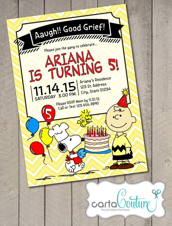 Are You Throwing A Charlie Brown Inspired Party For Your Little One Invite The Gang With This Adorable Peanutized Invitation Third