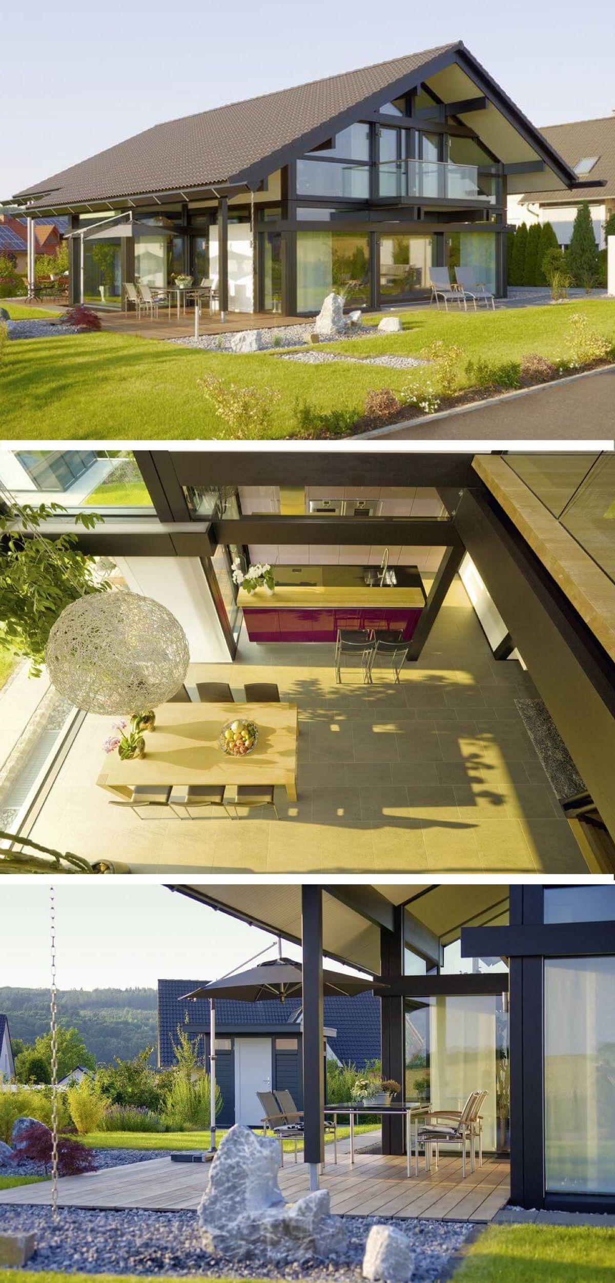 Modernes Fachwerkhaus mit Galerie und Satteldach