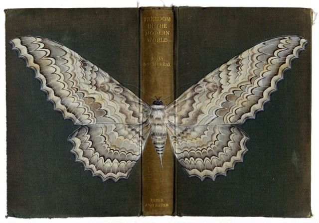 collection of bugs painted on book covers by Bristol-based artist Rose Sanderson VI