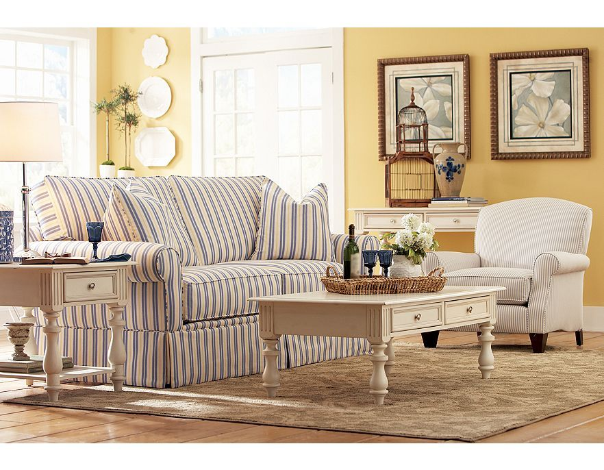 Admirable Blue White Striped Sofa In Family Room With Yellow Walls Creativecarmelina Interior Chair Design Creativecarmelinacom