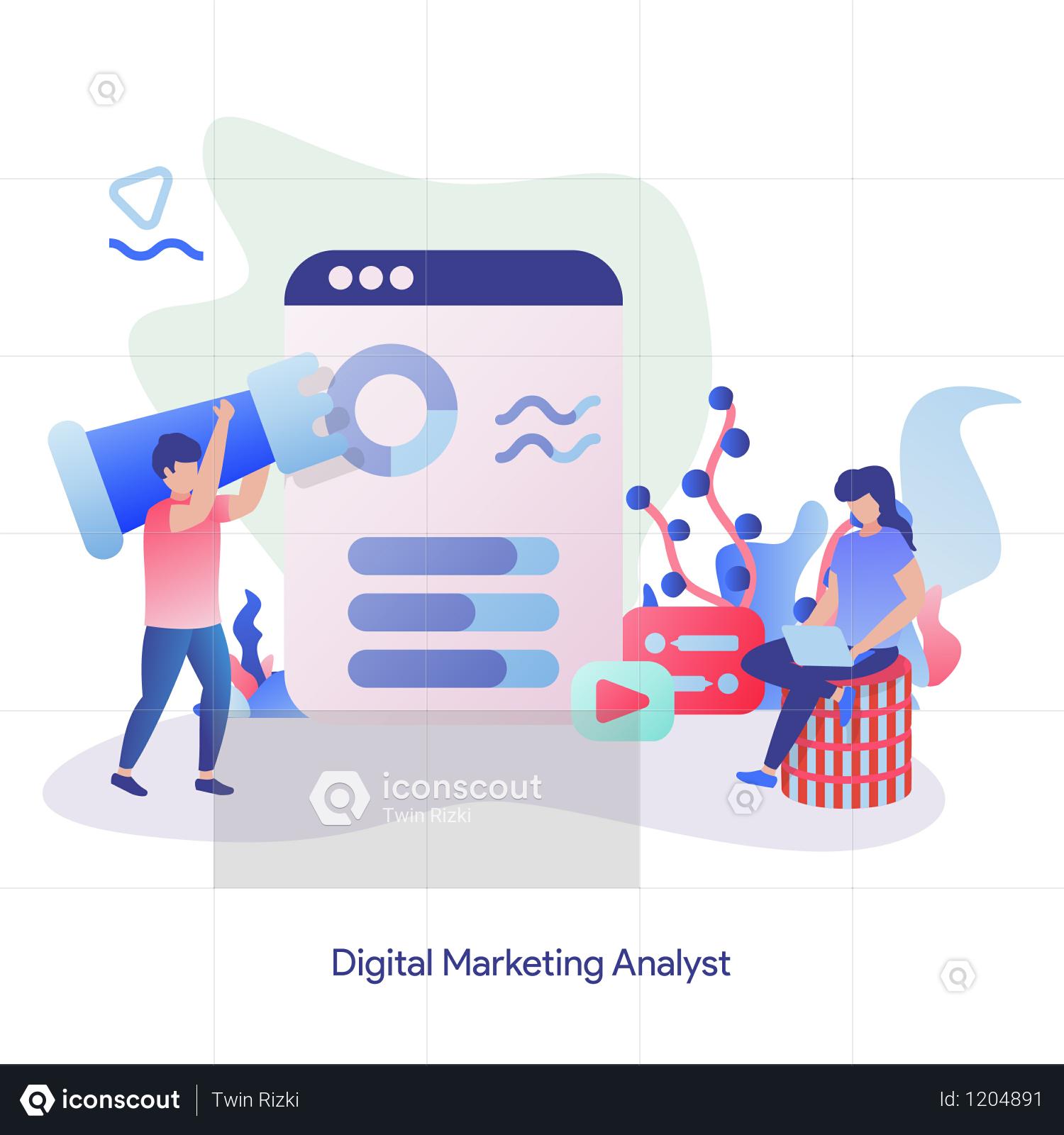 Premium Digital Marketing Analyst Illustration Download In Png Vector Format Digital Marketing Infographic Marketing Online Marketing Infographic