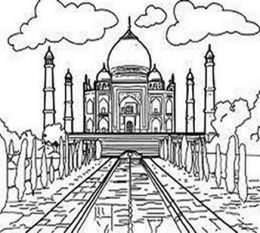 National Landmark Kids Coloring Pages Free Colouring Pictures To Print Free Coloring Pictures Taj Mahal Wonders Of The World