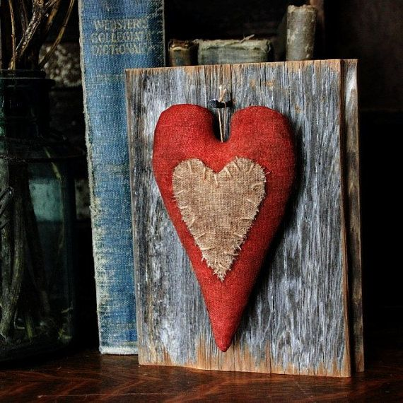 Primitive Valentine Heart Barn Wood Wall by rockriverstitches, $19.00