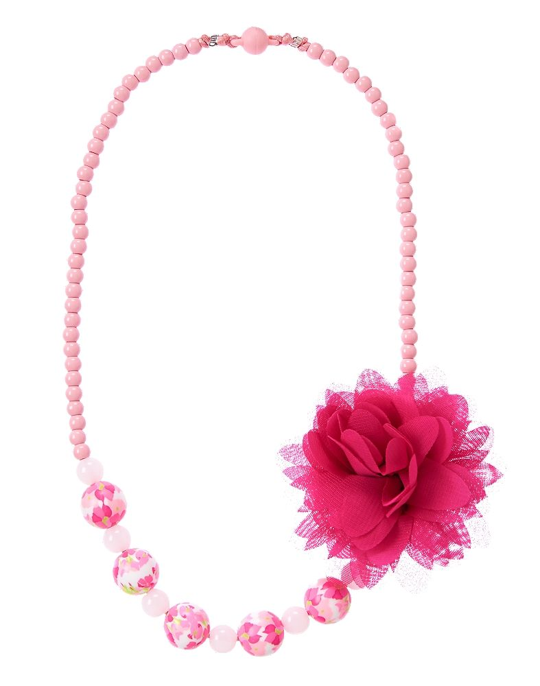 Gymboree Girl Fuschia Flower Necklace Fuchsia Flower Baby Girl Accessories Flower Necklace