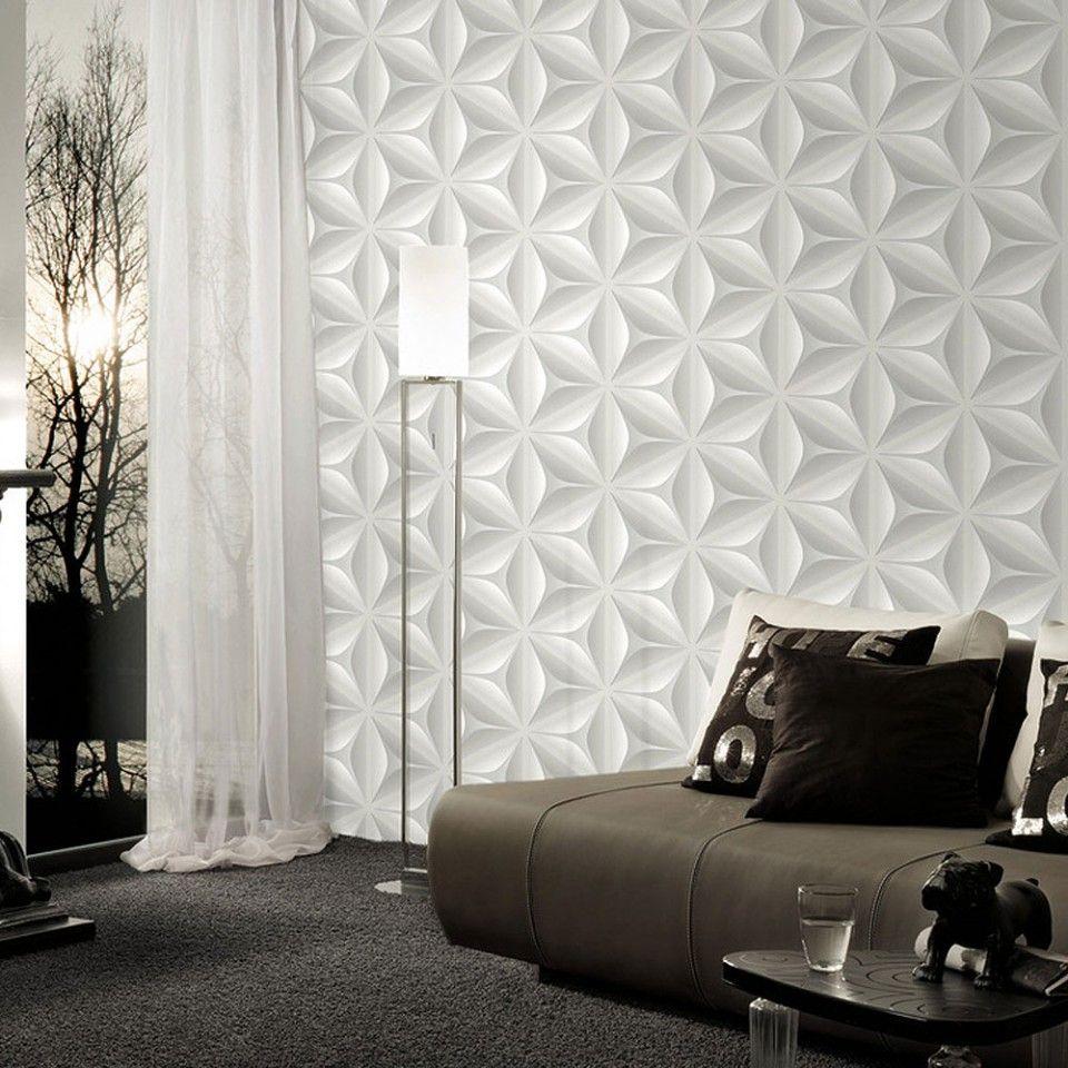 Papel pintado flor geom trica 3d tonos grises ref for Papel pintado decorativo