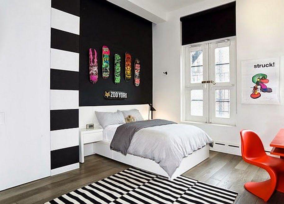 black white kids teen bedroom design decor