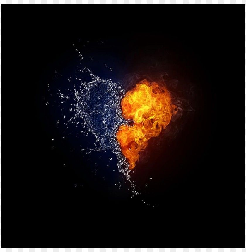 Cool Photo Heart Water And Fire Png Free Png Images Fire Heart Water Art Heart Wallpaper