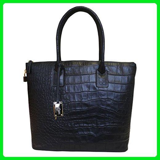 9d114f6a1a Carbotti Italian Designer Printed Leather Croc Square Tote Handbag Shoulder Bag  Black - Top handle bags ( Amazon Partner-Link)