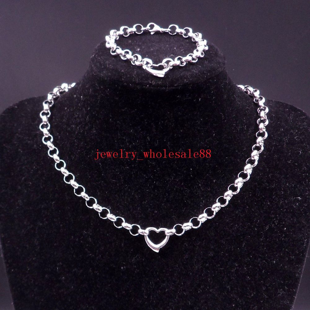 One set stainless steel heart design necklace u bracelet rolo chain