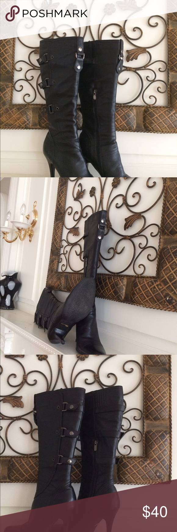 """RICIMA BLACK HELLS BOOTS Size 40 This is a pair of boots from RICIMA, these boots have buckles along the side and zippers also, the heels are 4"""" tall. Ricima Shoes Heeled Boots"""