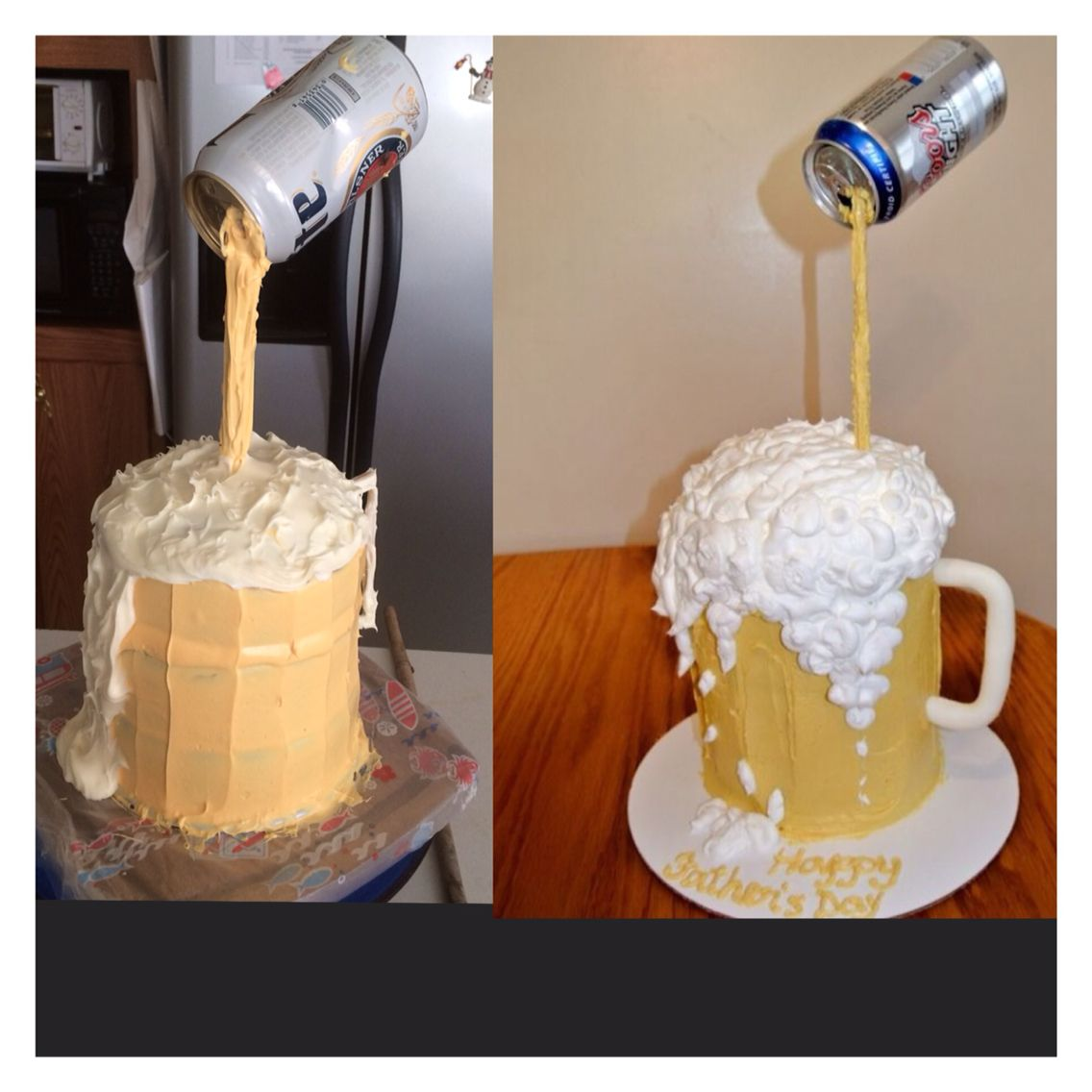 Made this cake on the left from the picture on the right on pintrest!!