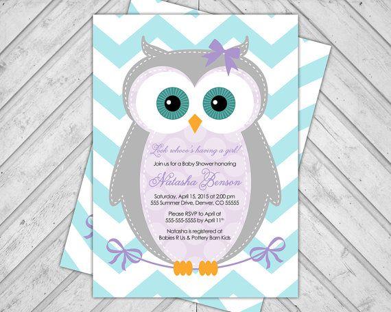 baby shower invitations girl owl 784a por willowlaneinvites en Etsy