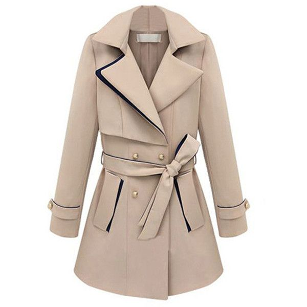 Choies Beige Color Block Double-breasted Trench Coat ($52) ❤ liked on Polyvore featuring outerwear, coats, jackets, casacos, beige, double breasted trench coat, colorblock trench coat, trench coat, beige trenchcoat and beige coat