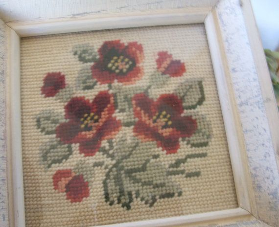 Shabby Chic Framed Needlework Flowers by lookonmytreasures on Etsy, $23.50