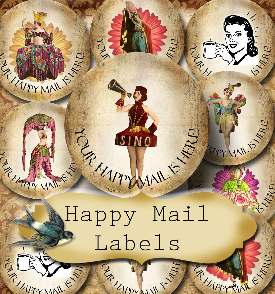 Happy mail •60 custom 1 5 x 1 5 round stickers•round labels•tags•