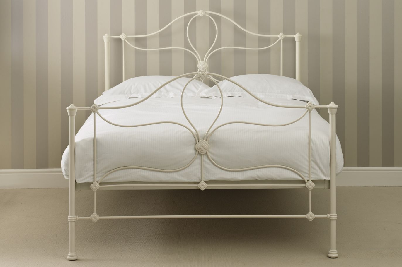 Petula Metal Bed Frame In Cream With Curves Scrolls From Laura