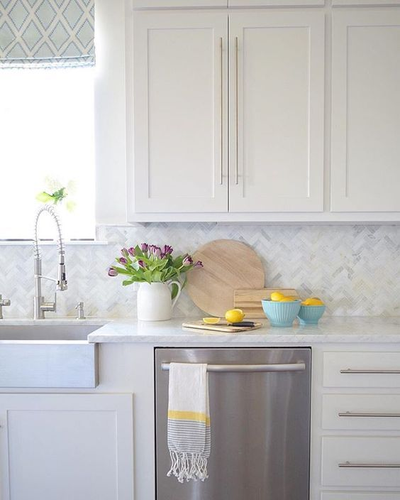 White Kitchen Herringbone Marble Backsplash Kitchen Kitchen