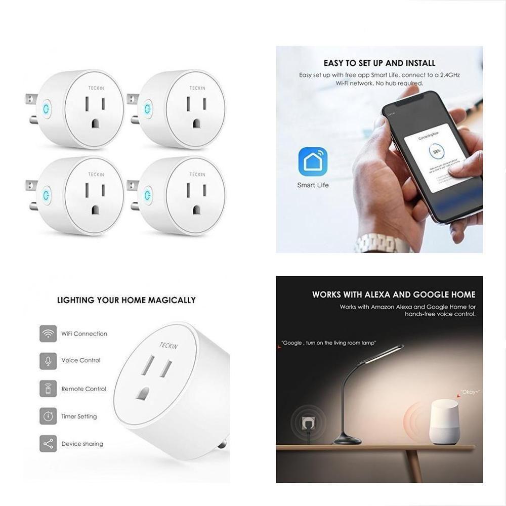 4-Pcs Smart Plug Mini Outlet Compatible Wifi Enabled Remote