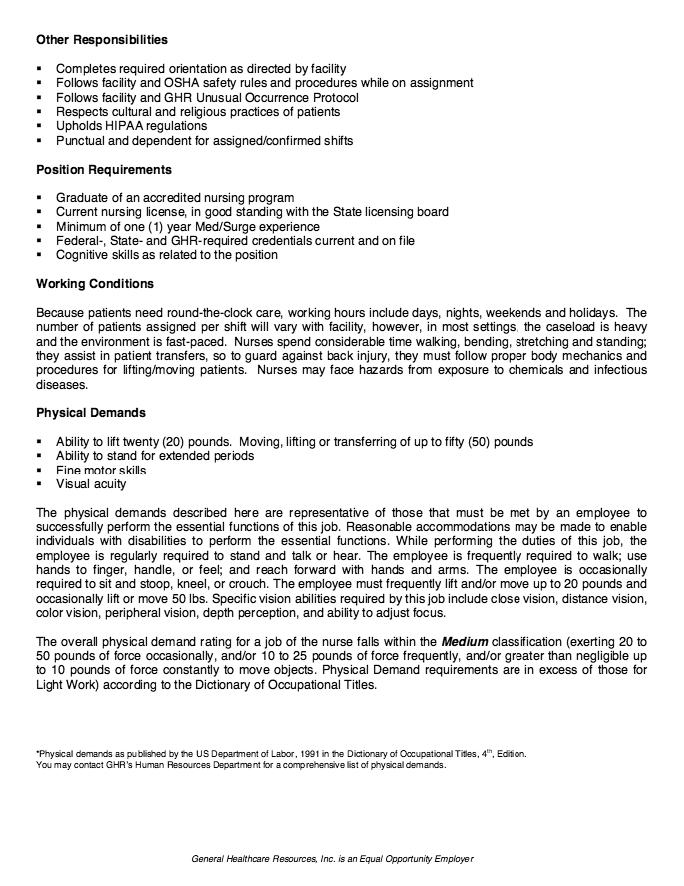 nicu nurse resume job description