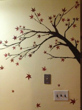 3D Maple Tree Leaves 72 Wall Paper Decal Decor Home Kids Nursery Mural  Home