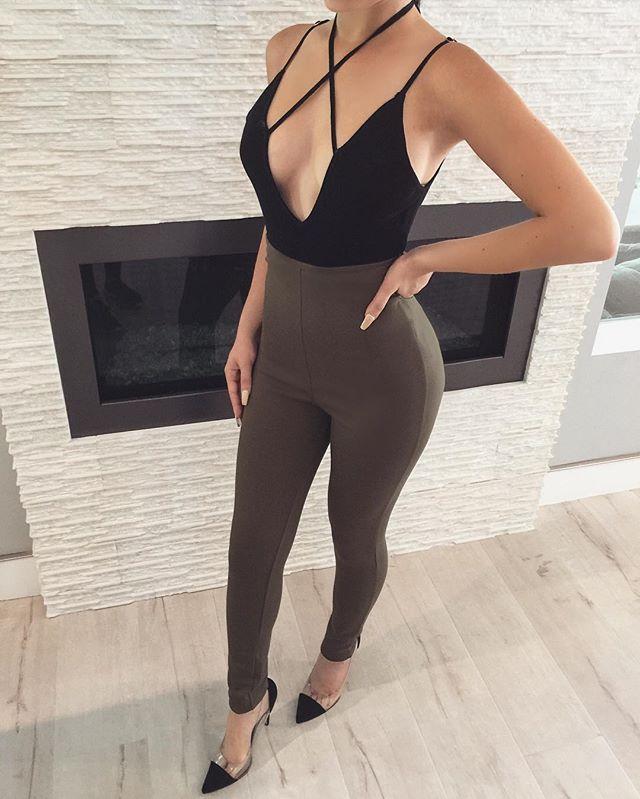 Eva ✖ Front Bodysuit + Olive High Waisted Leggings  1b2779ff7
