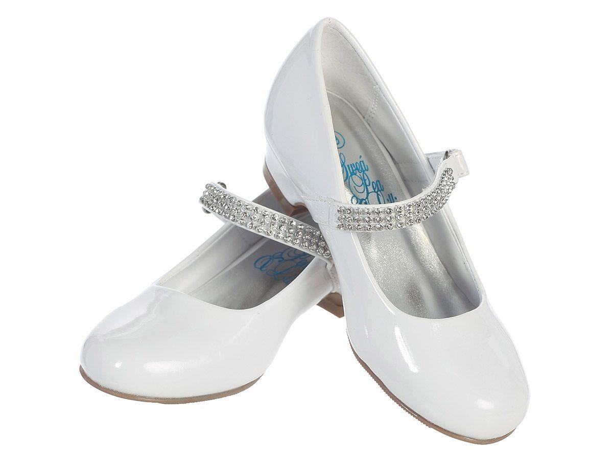 White Patent Low Heel Girls Dress Shoe