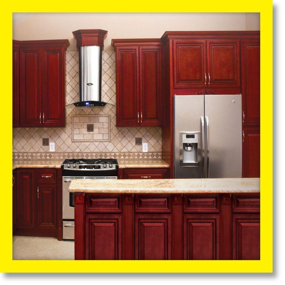"Details about 96"" Kitchen Cabinets Cherryville All Wood ..."