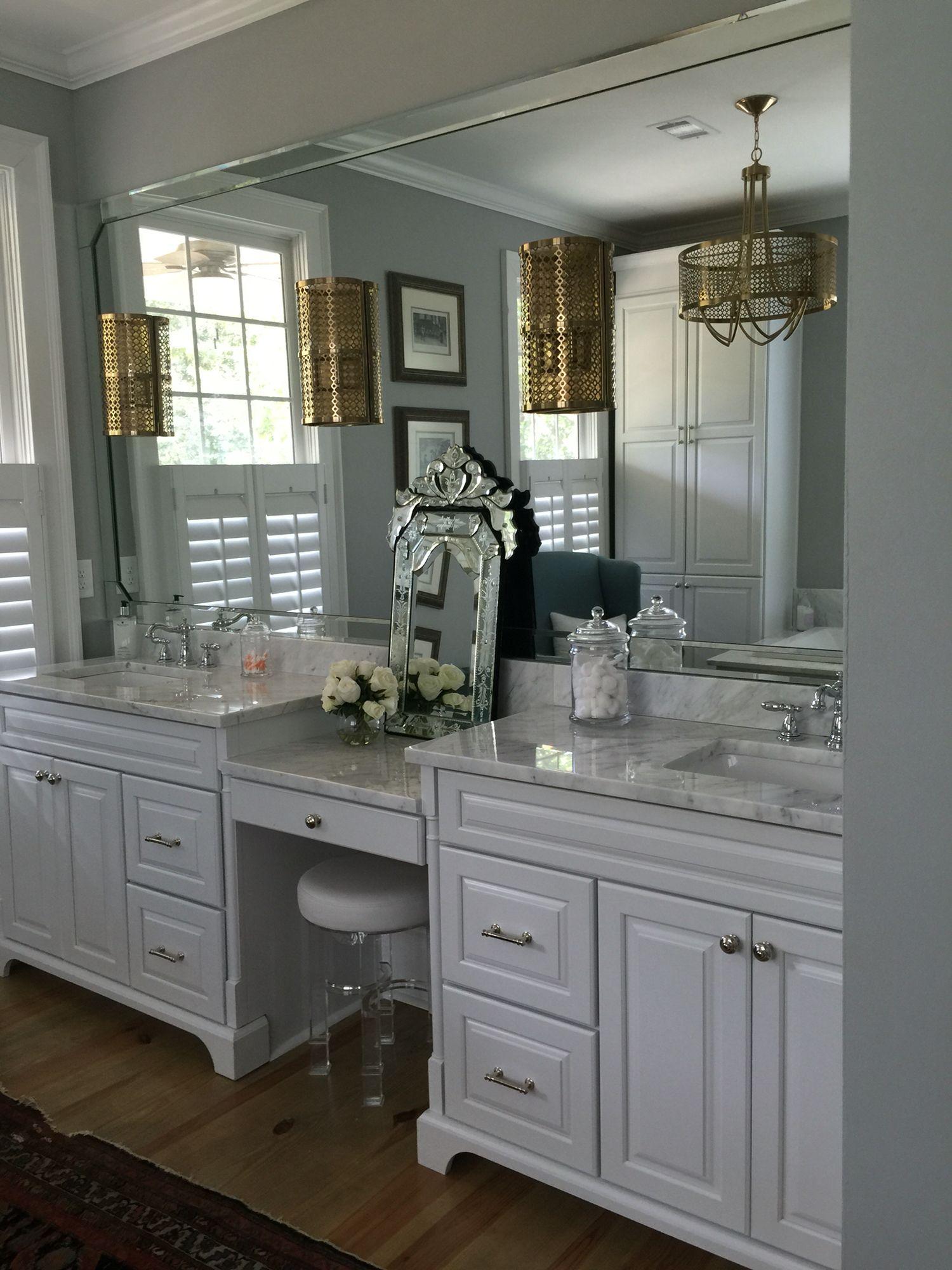 White Cabinets Carrara Marble Brushed
