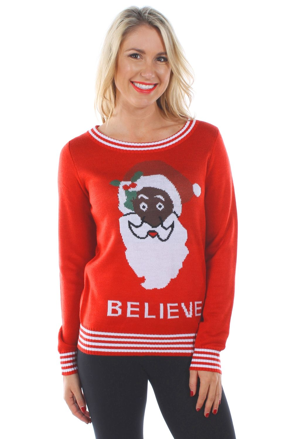 Women's Black Santa Sweater | Holidays