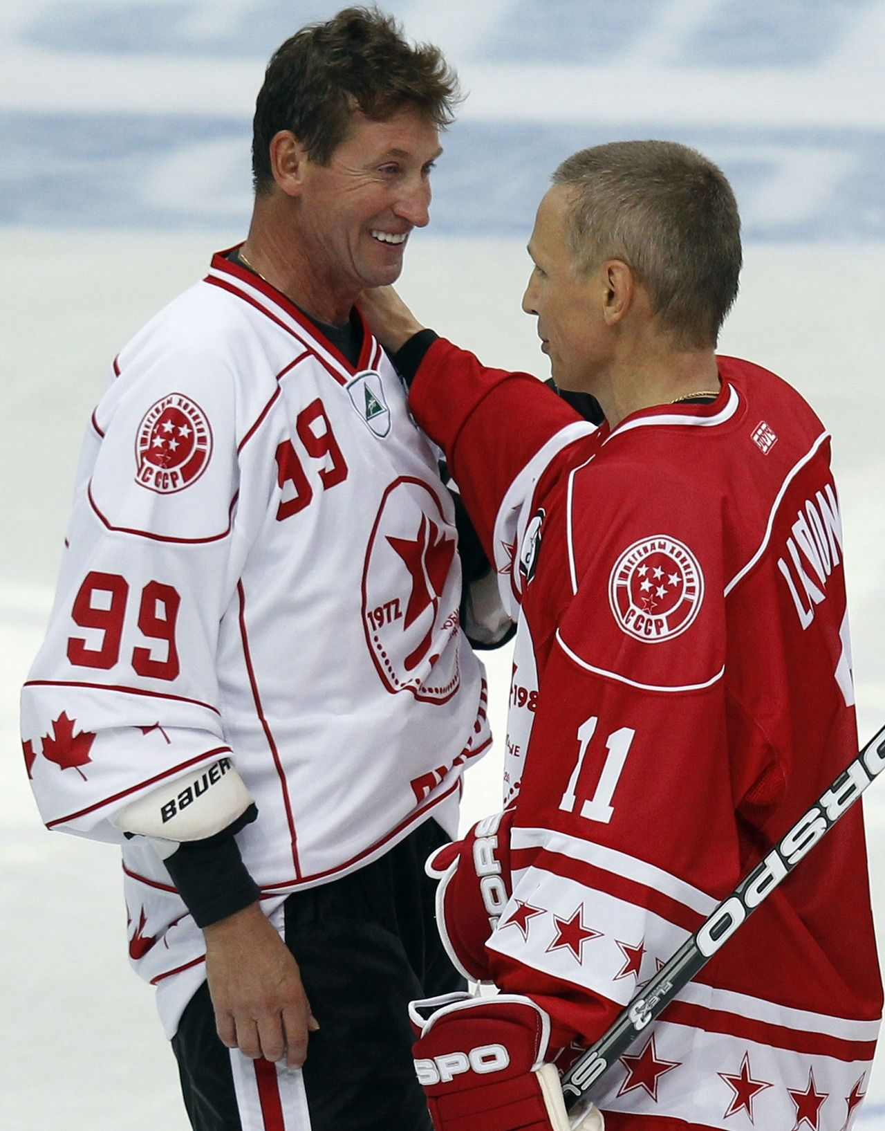 Canada s Wayne Gretzky greets Russia s Igor Larionov after their exhibition  ice hockey game in St. Petersburg c61c6dab3