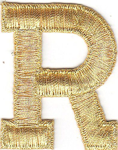 """1-3//4/"""" Black Letter /""""R/"""" Embroidery Iron On Applique Patch"""