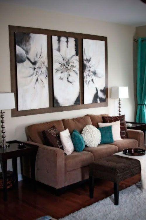 Sala De Estar Com Marrom ~ Sala em marrom, branco e azul  decoração casa  Pinterest  Ems e