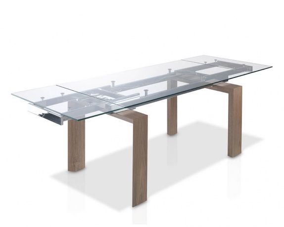 Baron Extendable Dining Table In Walnut With Tempered Clear Glass Top.  Unique Design With Clear View Of Intricate Extending Stainless Steel  Mechaniu2026