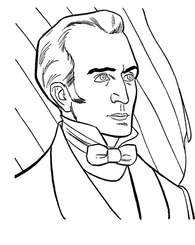 James K Polk 11th President Coloring Pages - President Day cartoon ...