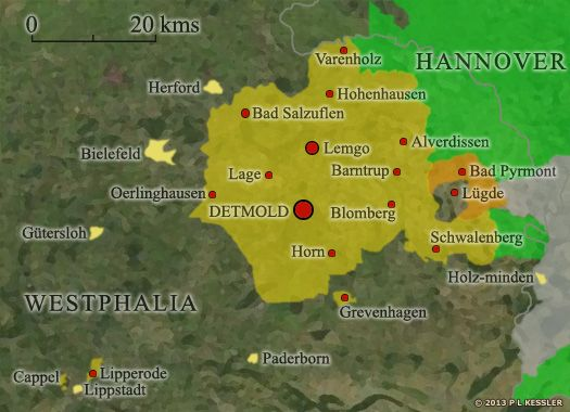 Map of Lippe | Ancestral Home: Haustenbeck, Lippe Detmold, Germany